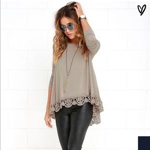 Lulus just like vacation taupe long sleeve top